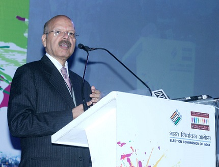 "Chief Election Commissioner, Dr. Nasim Zaidi addressing at the inauguration of the ""Matdaata Mahotsav, in New Delhi."