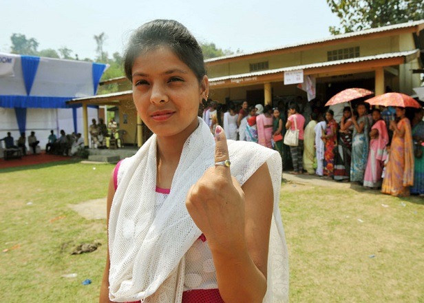 at polling station