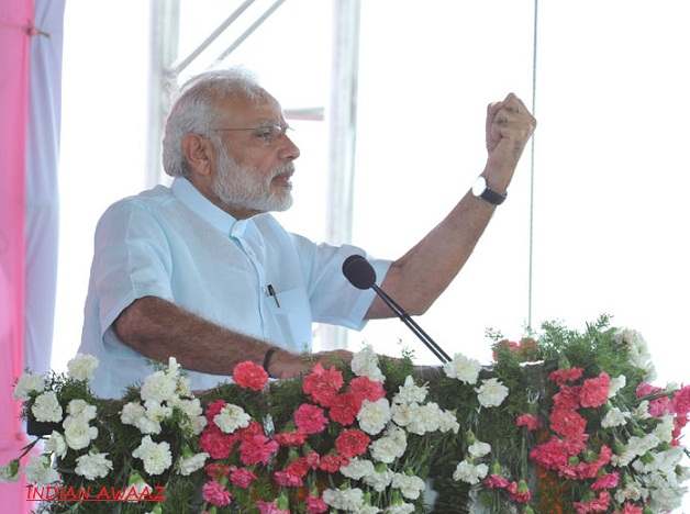 Prime Minister Modi addressing a public meeting, at Gajwel, Medak District, in Telangana