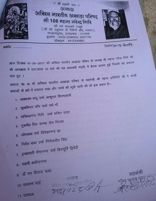 All-India Akhara Parishad list of fake shadhus