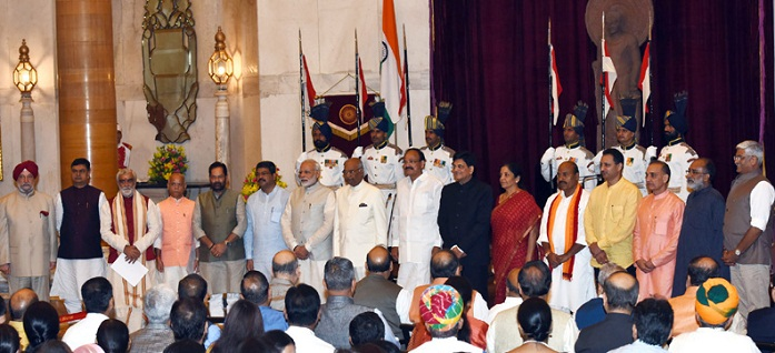 President, Vice President, Prime Minister, with the newly inducted Ministers after a Swearing-in Ceremony, at Rashtrapati Bhavan,