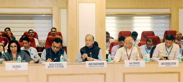 The Union Minister for Finance and Corporate Affairs, Shri Arun Jaitley chairing the 22nd GST Council meeting, in New Delhi on October 06, 2017. The Minister of State for Finance, Shri Shiv Pratap Shukla, the Revenue Secretary, Dr. Hasmukh Adhia and the Chief Economic Adviser, Dr. Arvind Subramanian are also seen.