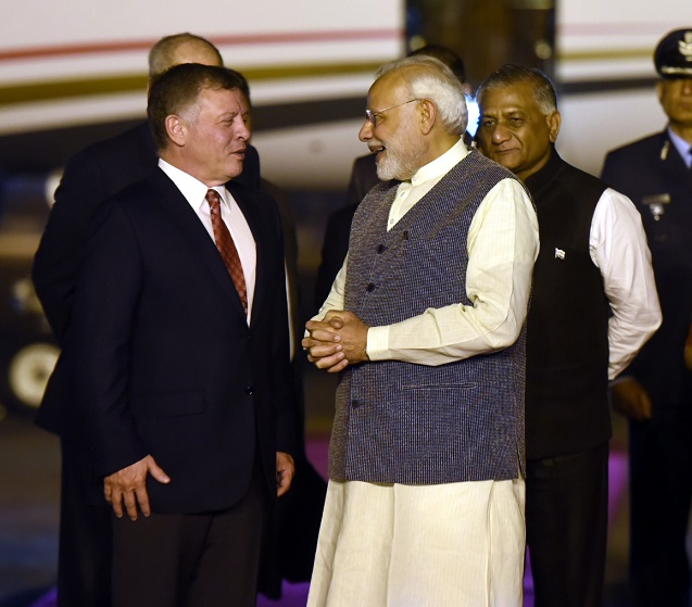 PM Narendra Modi breaks protocol again, receives Jordan King at airport
