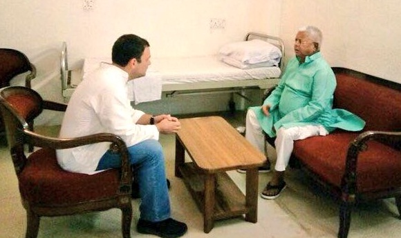 Rahul Gandhi meets Lalu Prasad Yadav at AIIMS