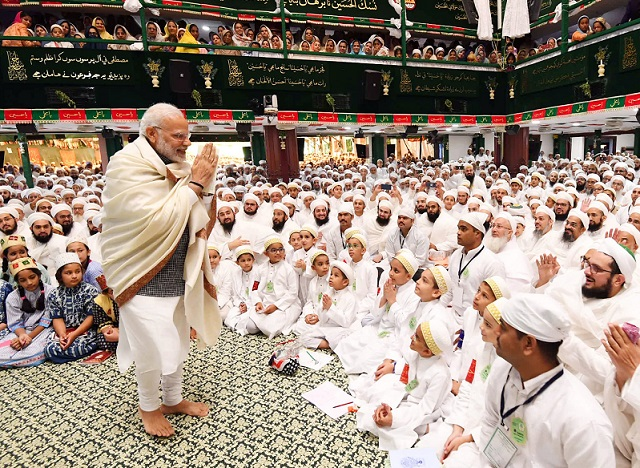 The Prime Minister, Shri Narendra Modi attending Ashara Mubaraka – Commemoration of the Martyrdom of Imam Husain (SA), organised by the Dawoodi Bohra community, at Saifee Masjid, in Indore, Madhya Pradesh on September 14, 2018.