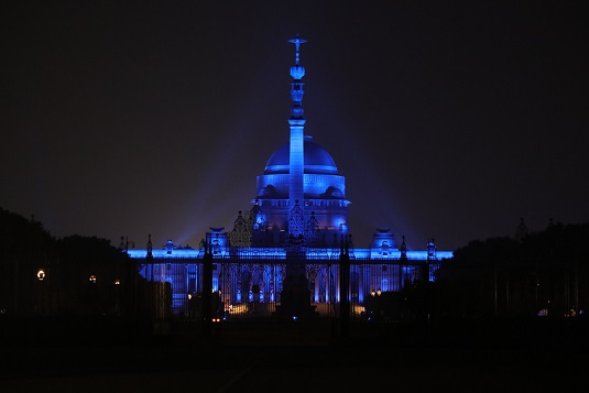 Major buildings in India go blue as part of UNICEF's campaign on World Children's Day