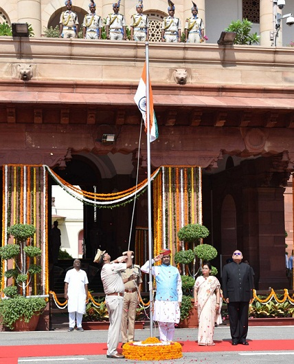 Speaker Hoists National Flag at Parliament House