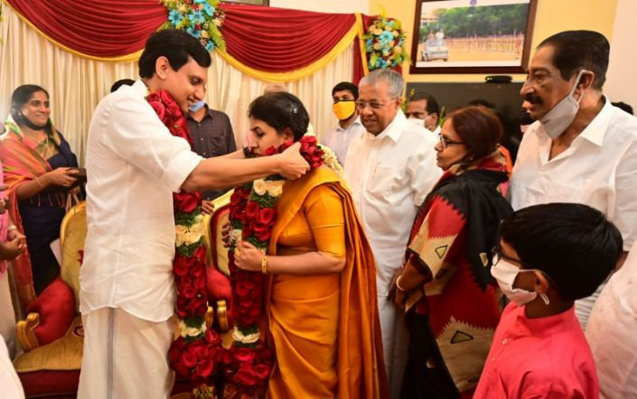 Kerala CM's Daughter get married to CPI-M Youth Leader Mohammed Riyas